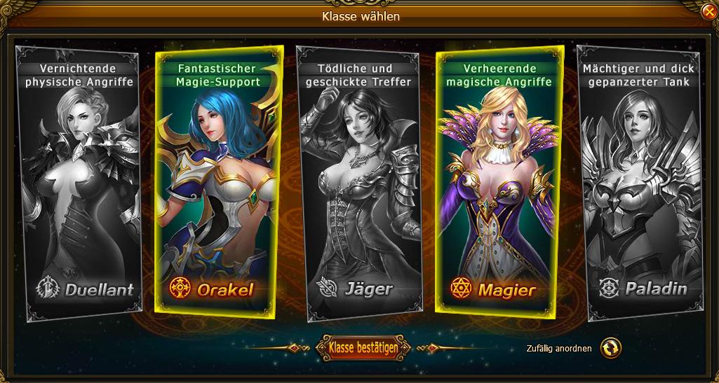 Die Klassen vom MMORPG Spiel Odyssea